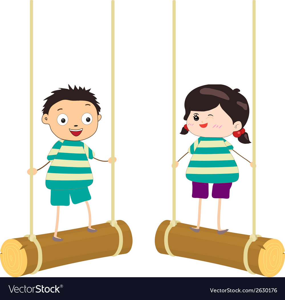 Two kidsl swinging on swings vector | Price: 1 Credit (USD $1)