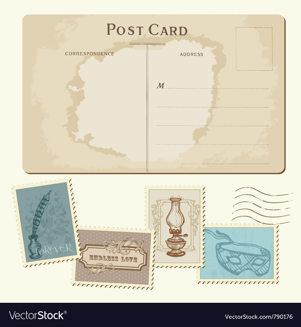 Vintage postcard and stamps vector | Price: 1 Credit (USD $1)