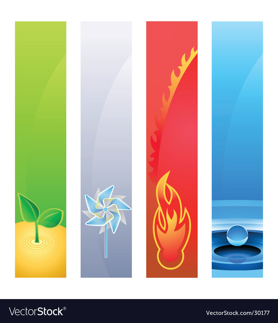 4 nature element banner backgrounds vector | Price: 1 Credit (USD $1)