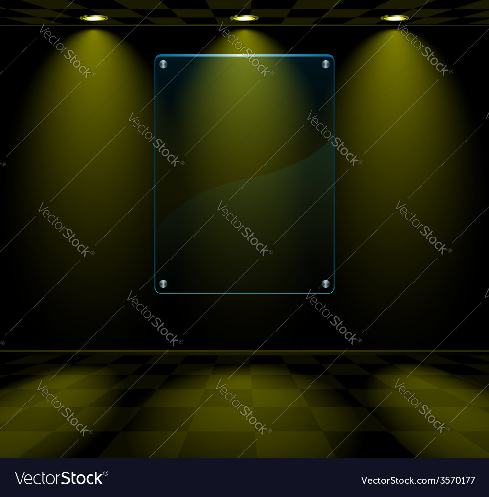 Black room with glass placeholder vector | Price: 1 Credit (USD $1)