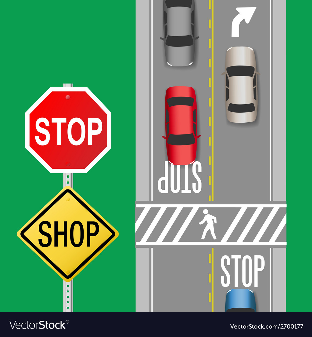 Busy traffic cars stop sign street vector | Price: 1 Credit (USD $1)