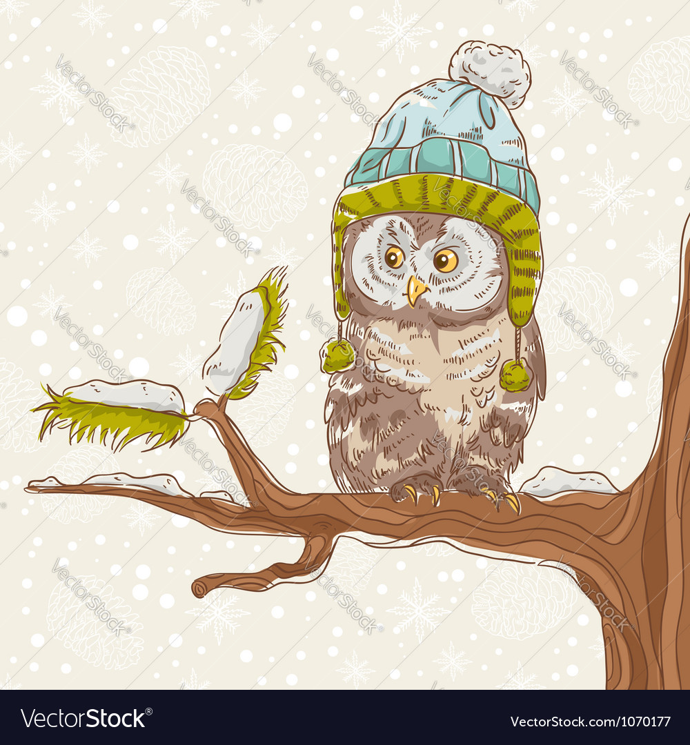 Cute winter christmas card of an owl vector | Price: 3 Credit (USD $3)