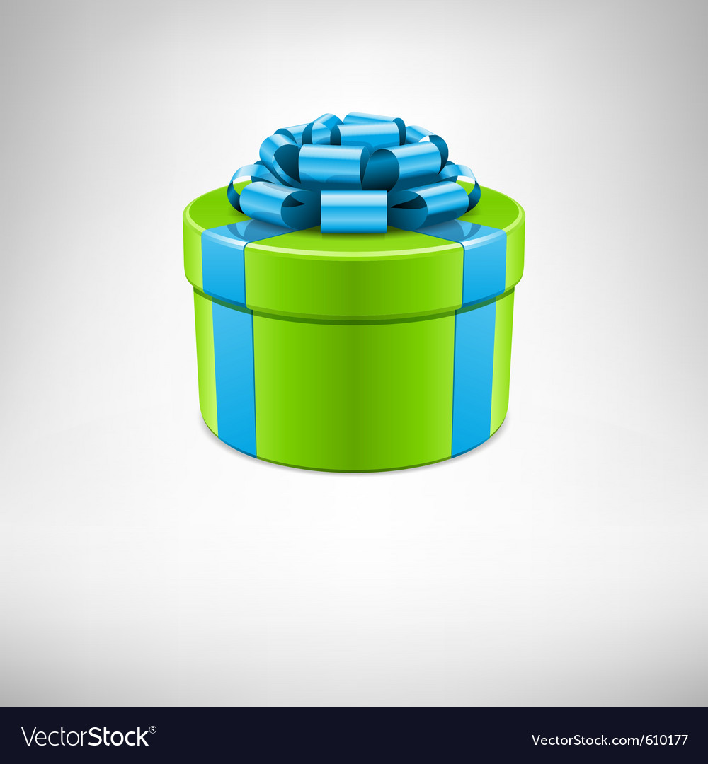 Green gift box with blue bow vector | Price: 1 Credit (USD $1)