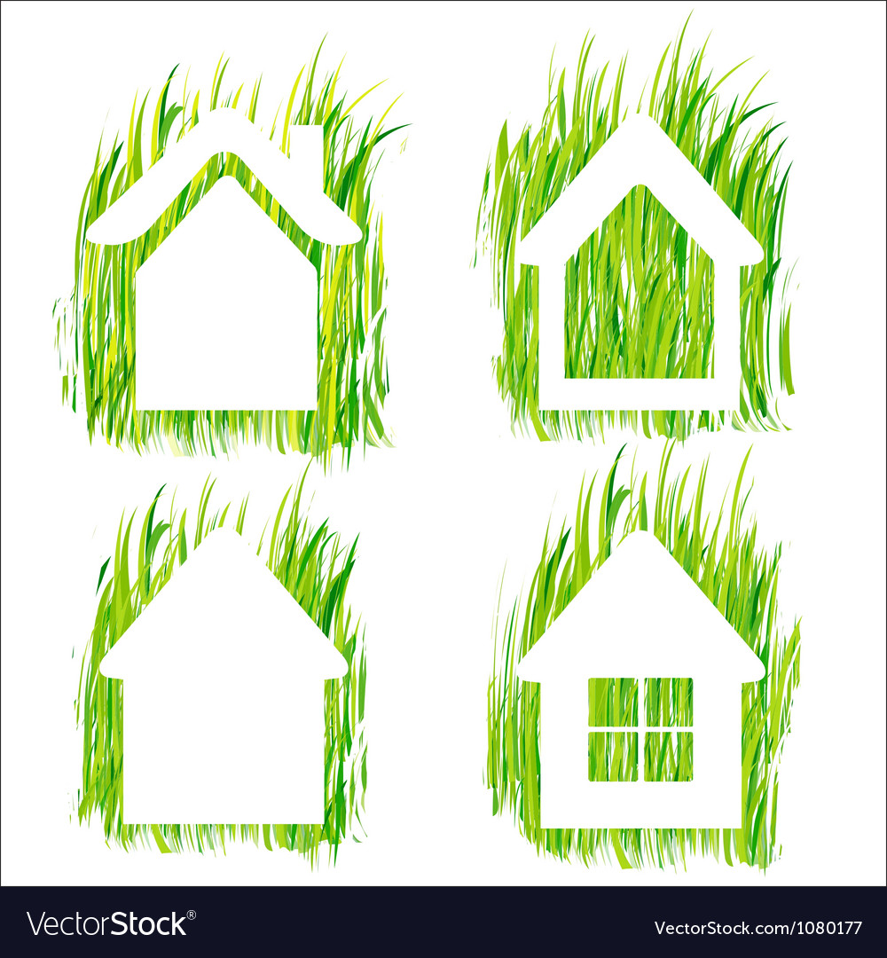Green grass home icons set 1 vector | Price: 1 Credit (USD $1)