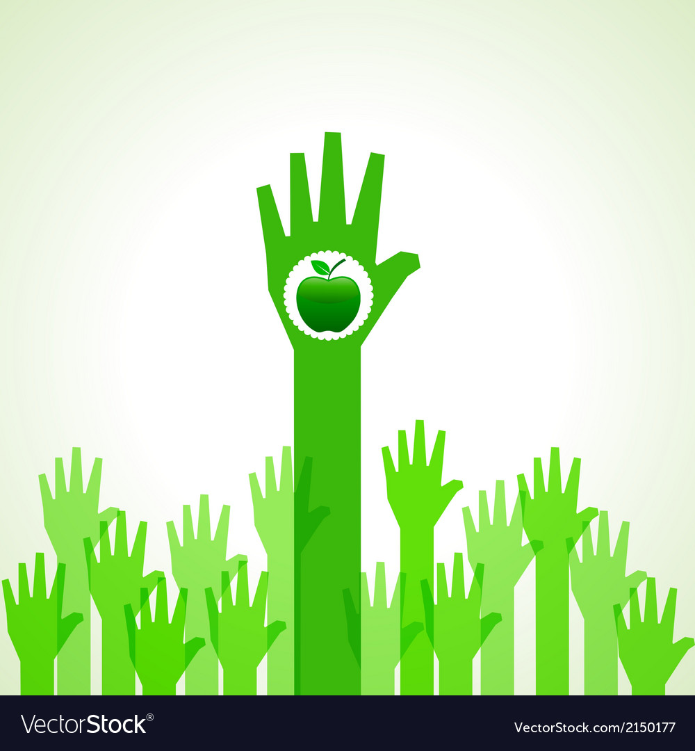 Green helping hand with green apple vector | Price: 1 Credit (USD $1)