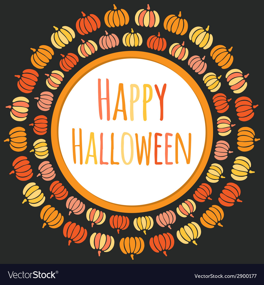 Happy halloween round frame with colorful pumpkins vector | Price: 1 Credit (USD $1)