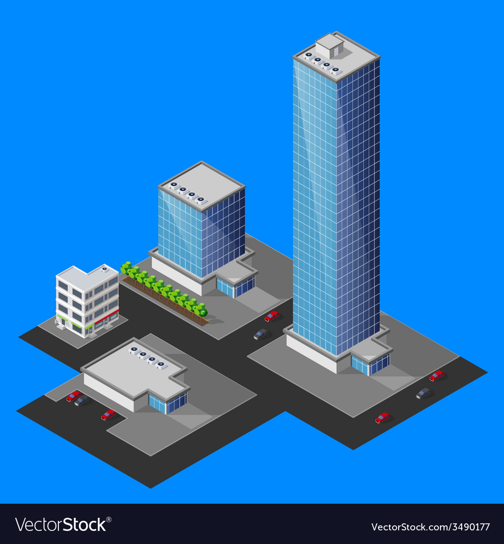 Isometric cityscape vector | Price: 1 Credit (USD $1)