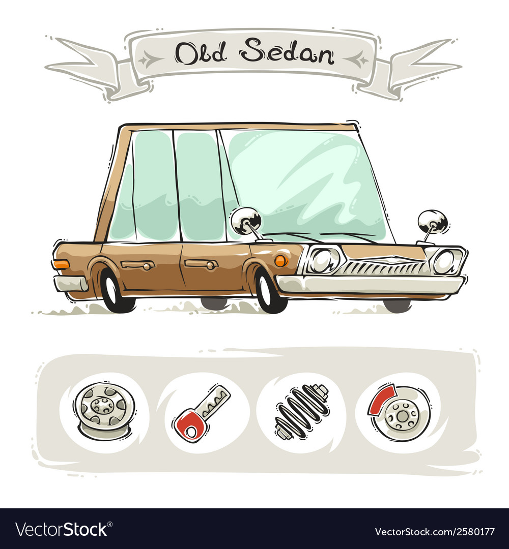Old cartoon sedan set vector | Price: 1 Credit (USD $1)