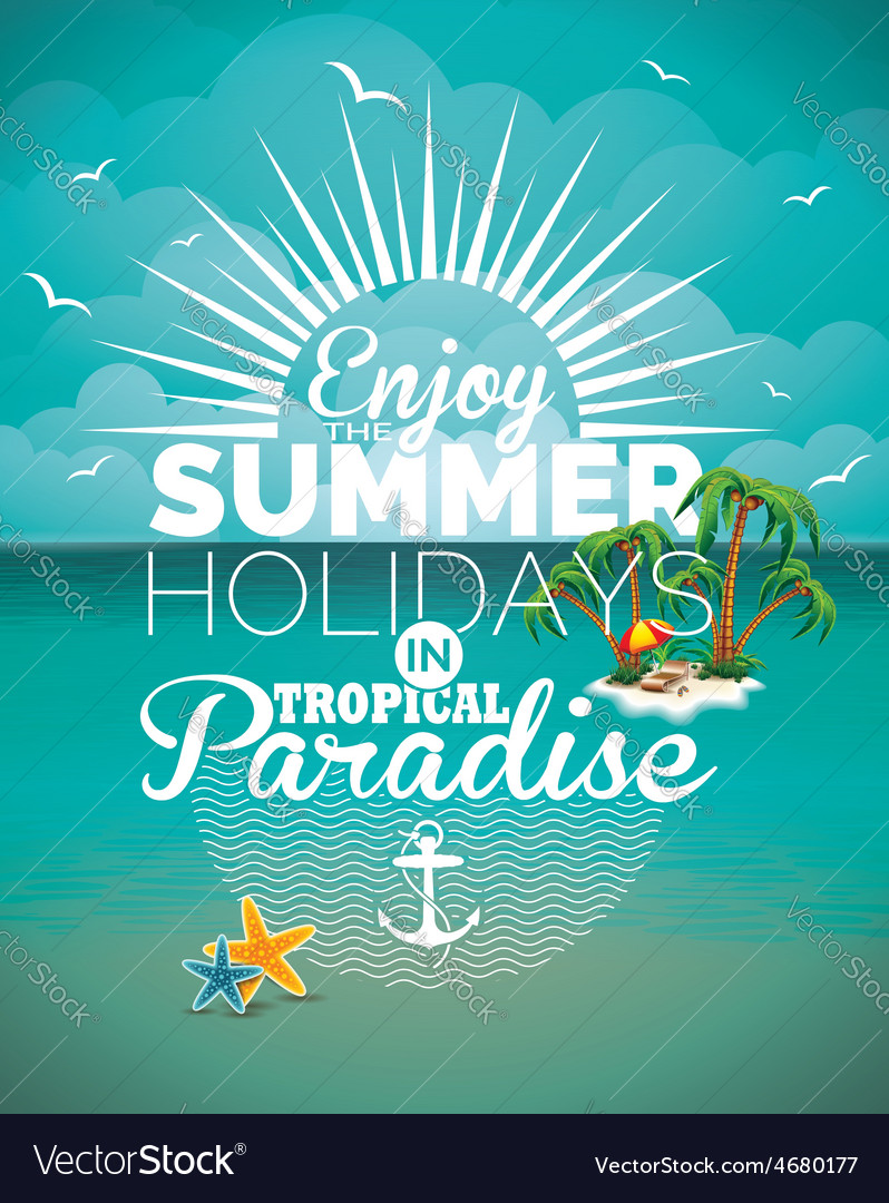 Summer holiday on seascape background vector | Price: 3 Credit (USD $3)