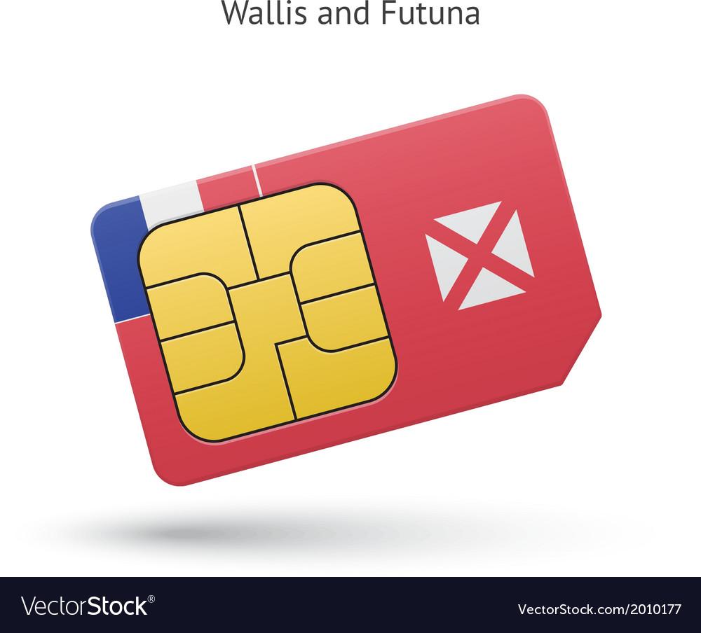 Wallis and futuna mobile phone sim card with flag vector | Price: 1 Credit (USD $1)