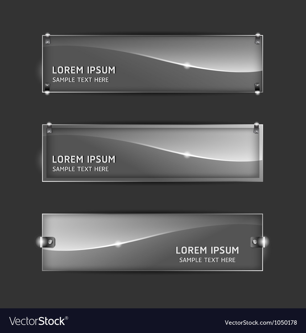 Collection abstract glass banner design horizontal vector | Price: 1 Credit (USD $1)