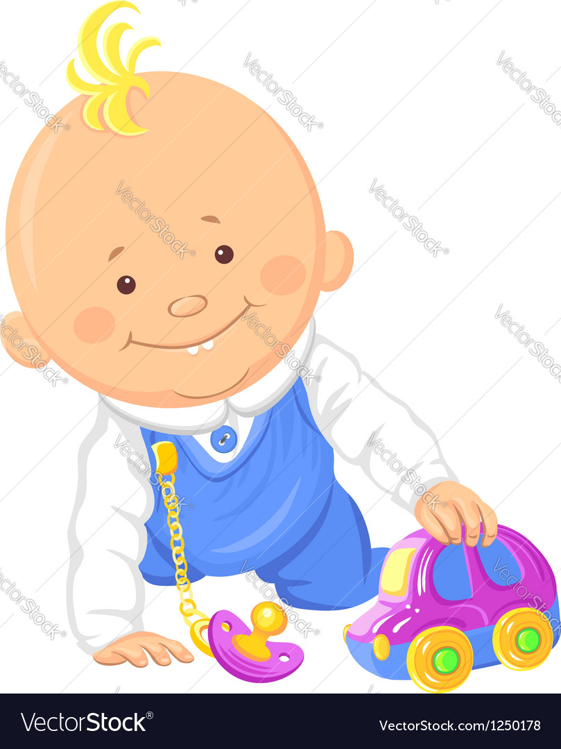 Cute smiling baby boy playing with a toy car vector | Price: 3 Credit (USD $3)