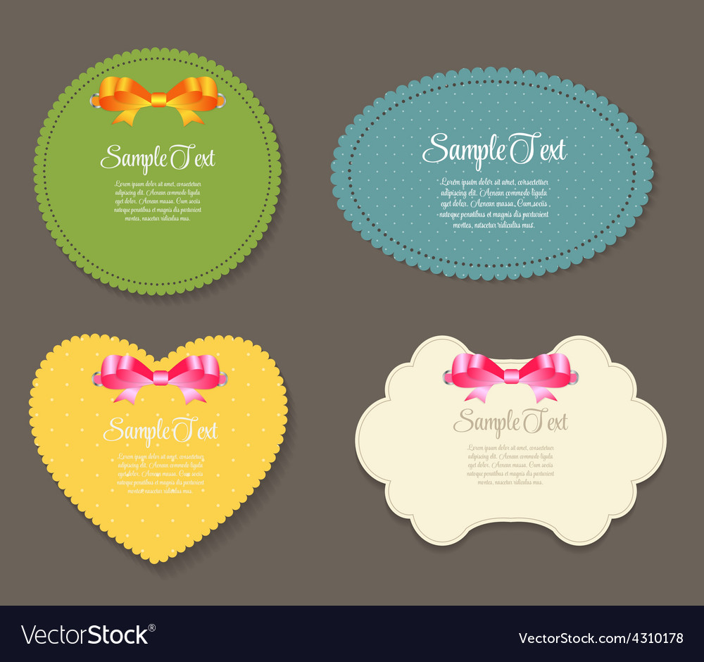 Design retro label frame with bow vector | Price: 1 Credit (USD $1)