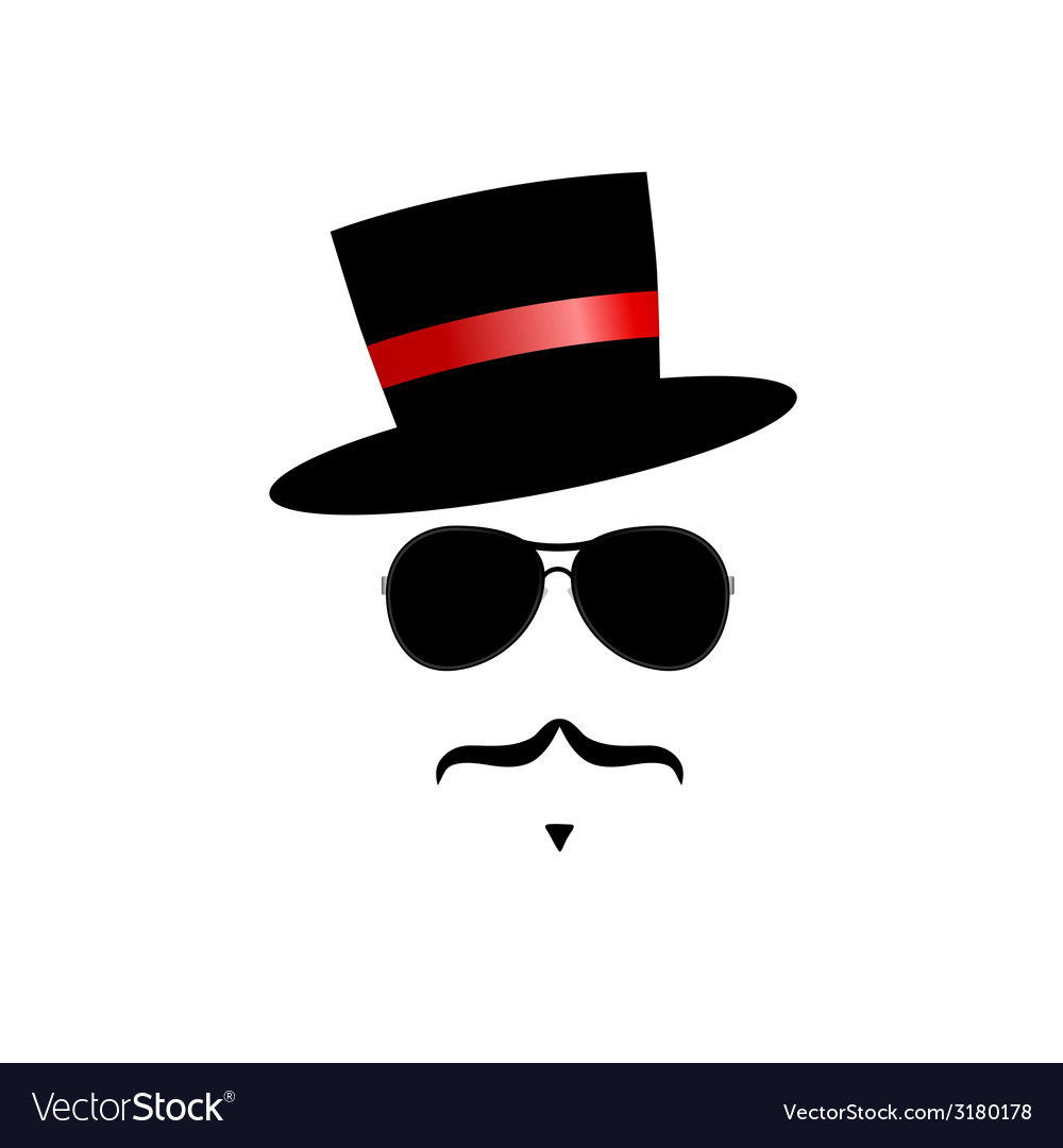 Face with mustache and hat vector | Price: 1 Credit (USD $1)