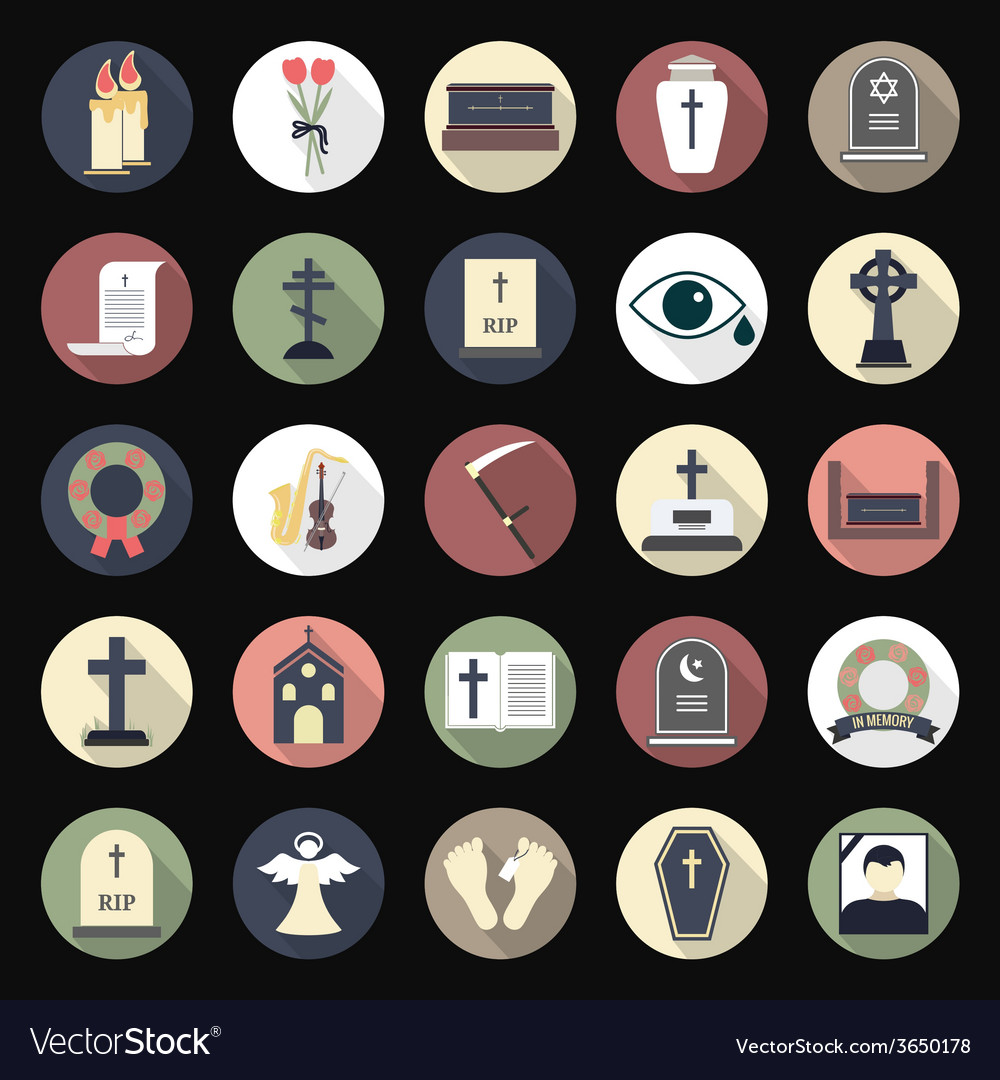 Funeral icons in flat style on colored circles vector | Price: 1 Credit (USD $1)