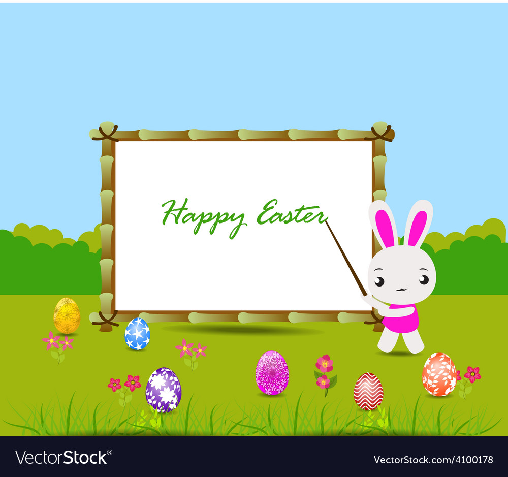 Happy easter card with eggs and rabbits nearby vector