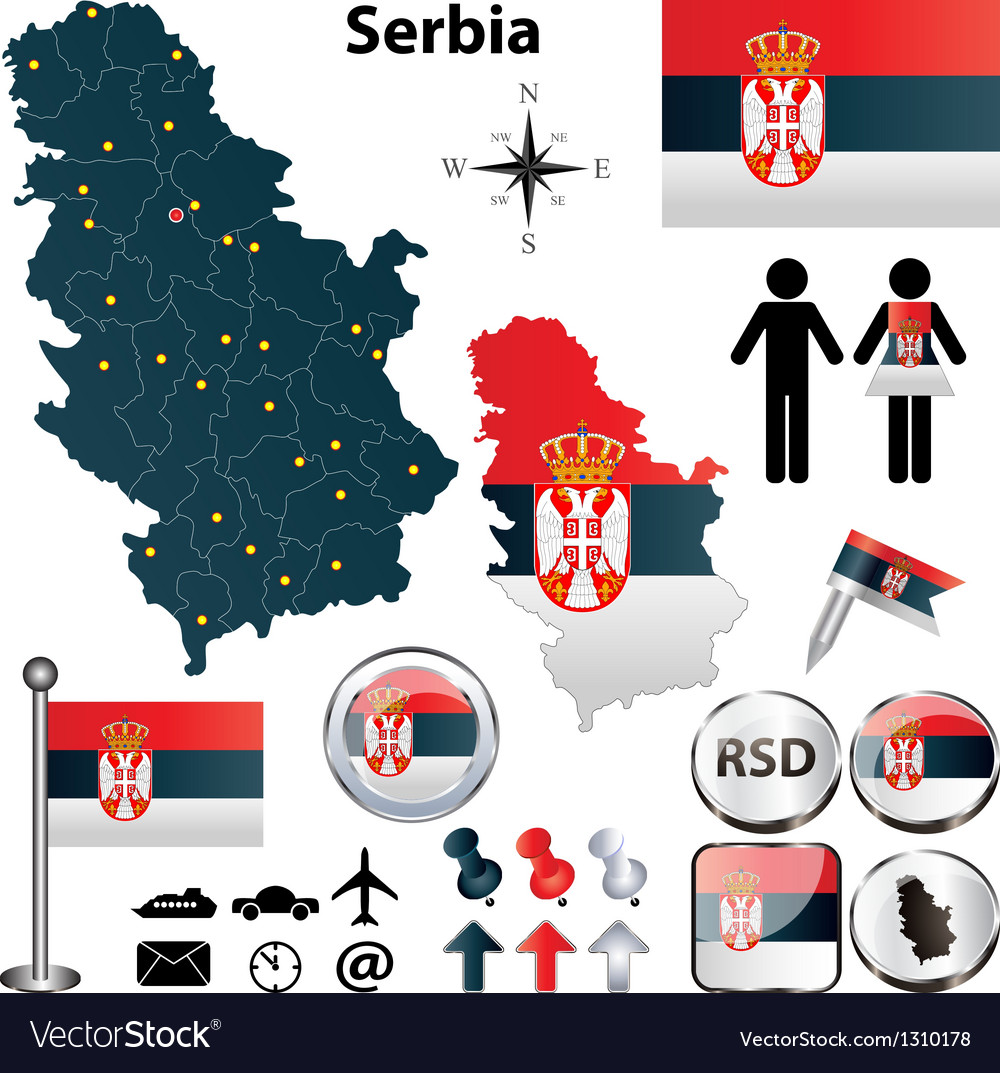 Map of serbia vector | Price: 1 Credit (USD $1)