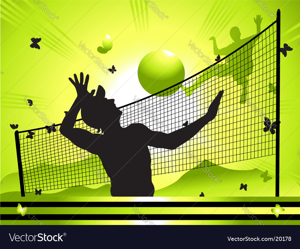 People play volleyball on nature vector | Price: 1 Credit (USD $1)