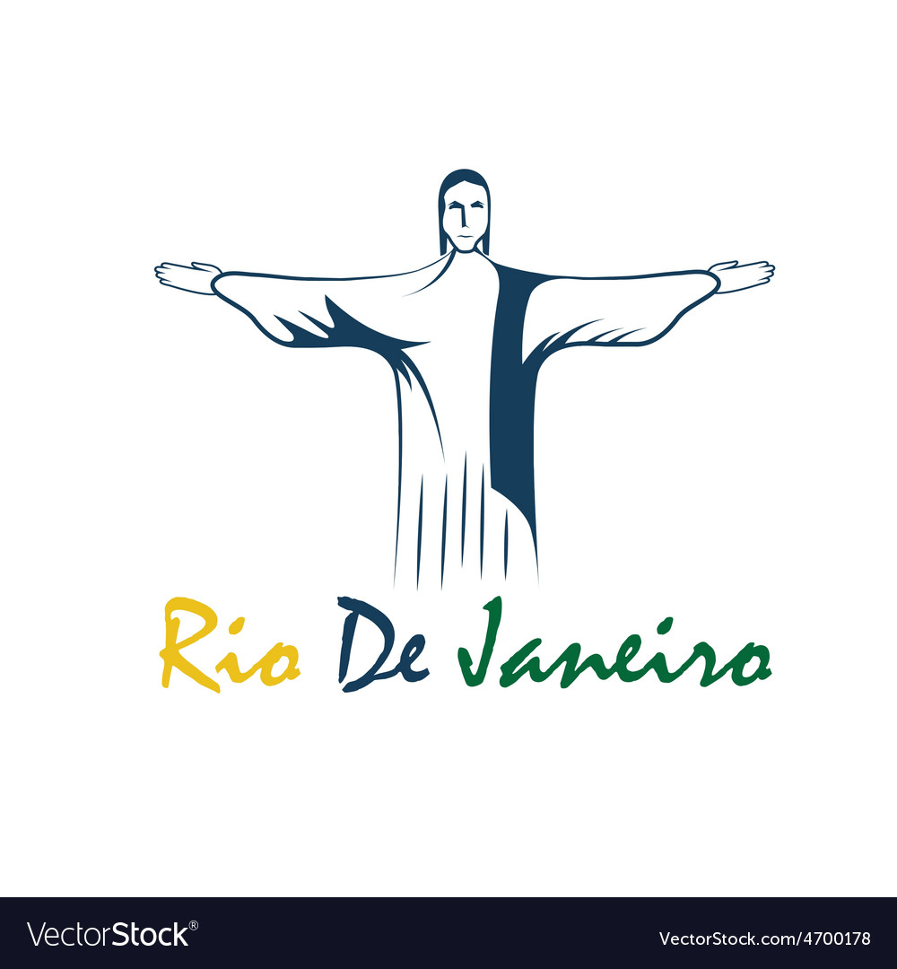 Rio de janeiro with jesus christ vector | Price: 1 Credit (USD $1)