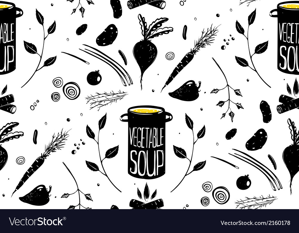 Seamless pattern vegetable soup in black vector | Price: 1 Credit (USD $1)