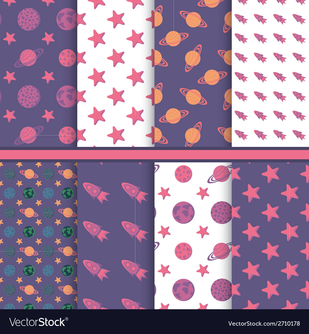 Set of seamless patterns with space planets stars vector | Price: 1 Credit (USD $1)