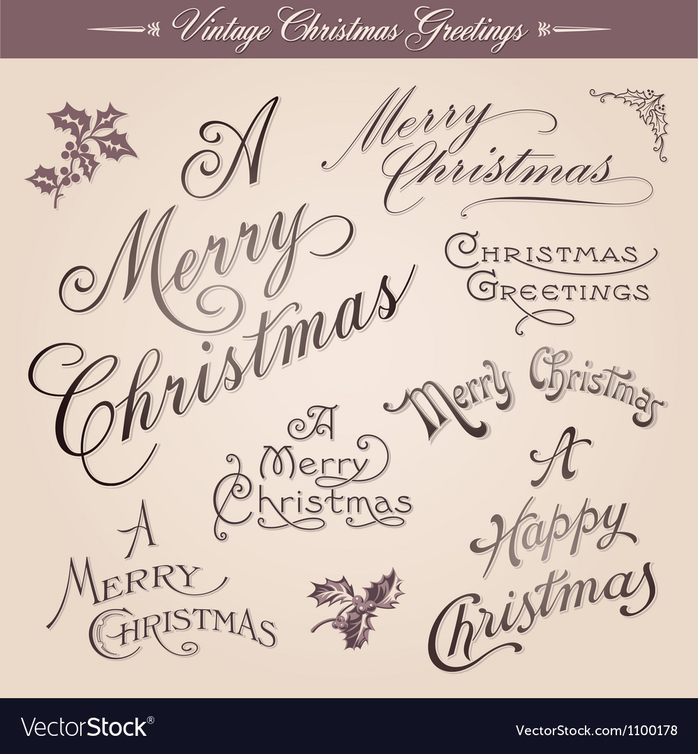 Vintage christmas greetings vector | Price: 1 Credit (USD $1)