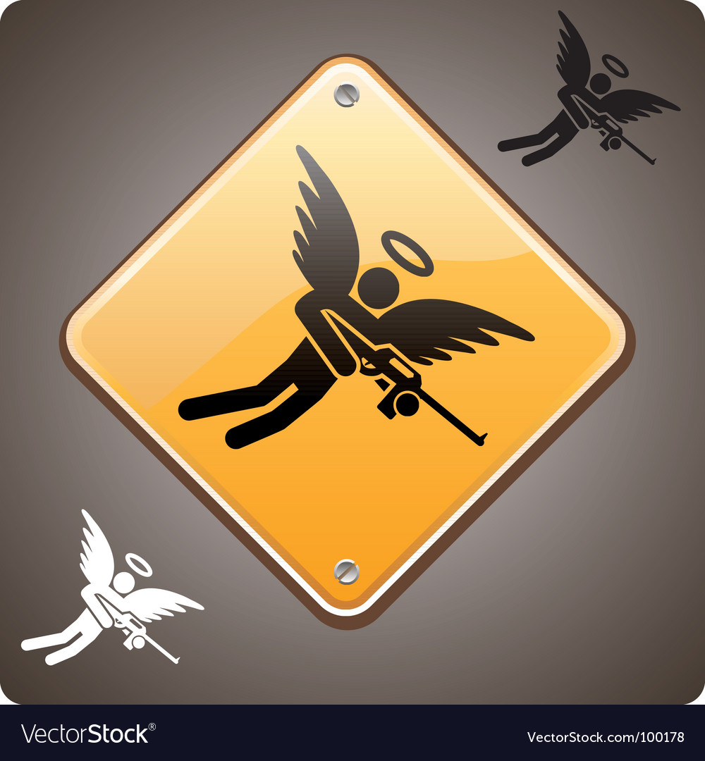 Warning armed angel ahead vector | Price: 1 Credit (USD $1)