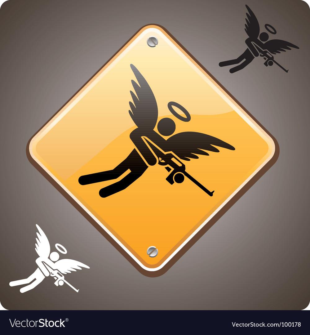 Warning armed angel ahead vector | Price: 1 Credit (USD $1)