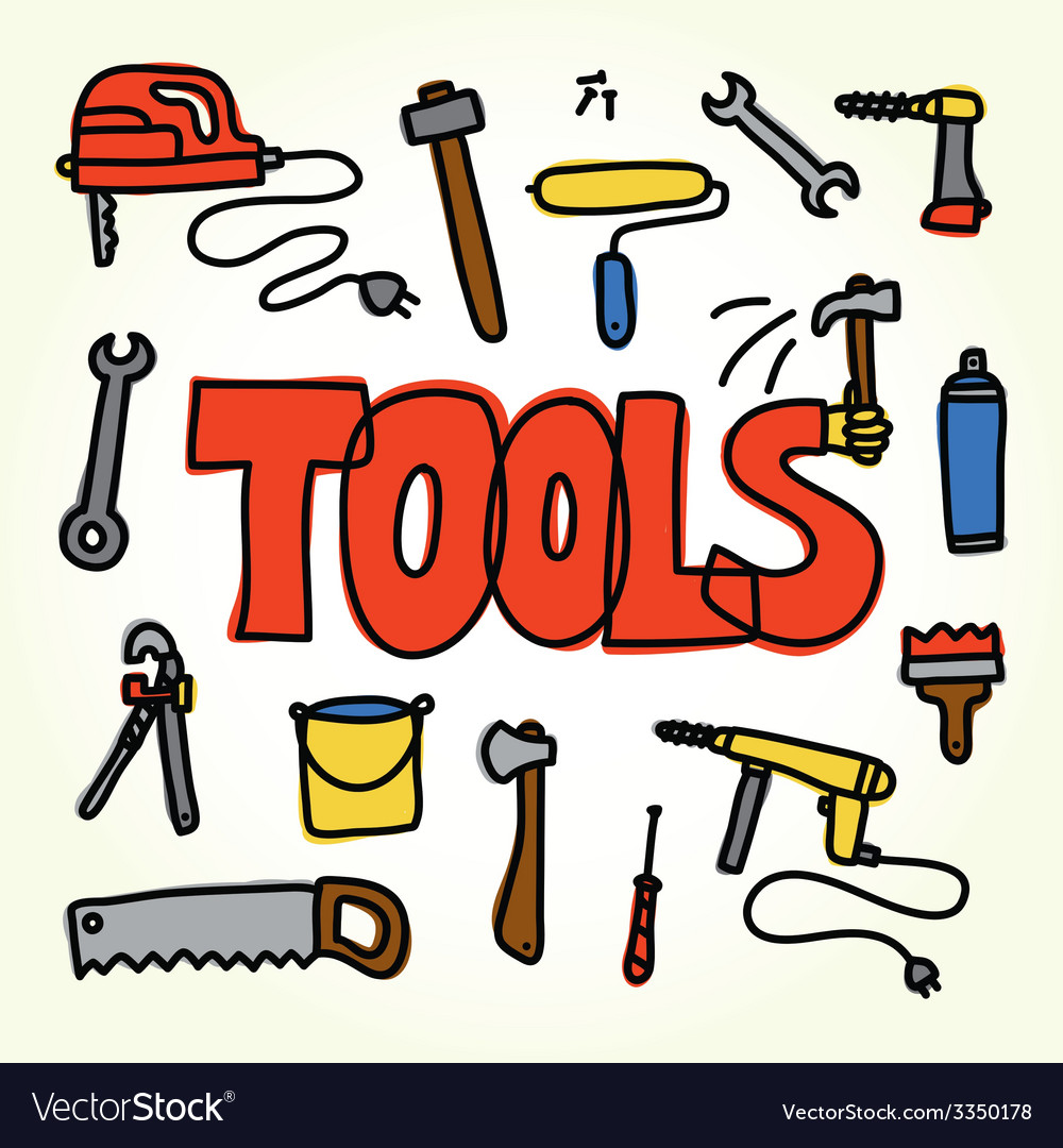 Workshop tools set vector | Price: 1 Credit (USD $1)