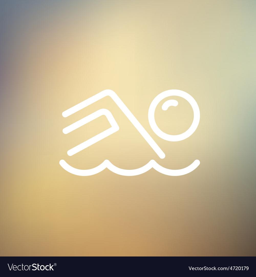 Beach wave thin line icon vector | Price: 1 Credit (USD $1)