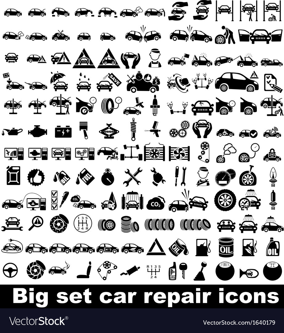 Big set car repair icons vector | Price: 1 Credit (USD $1)