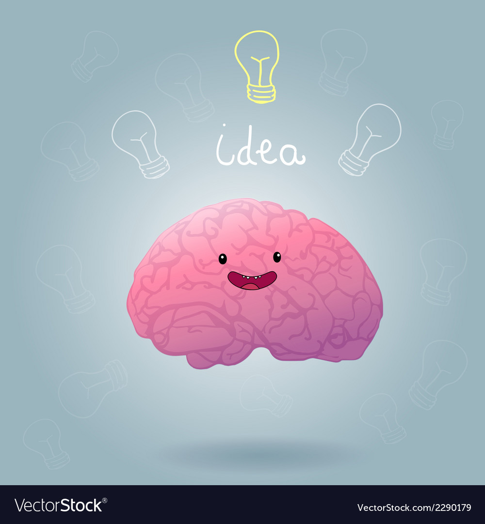 Brainstorm happy brain vector | Price: 1 Credit (USD $1)