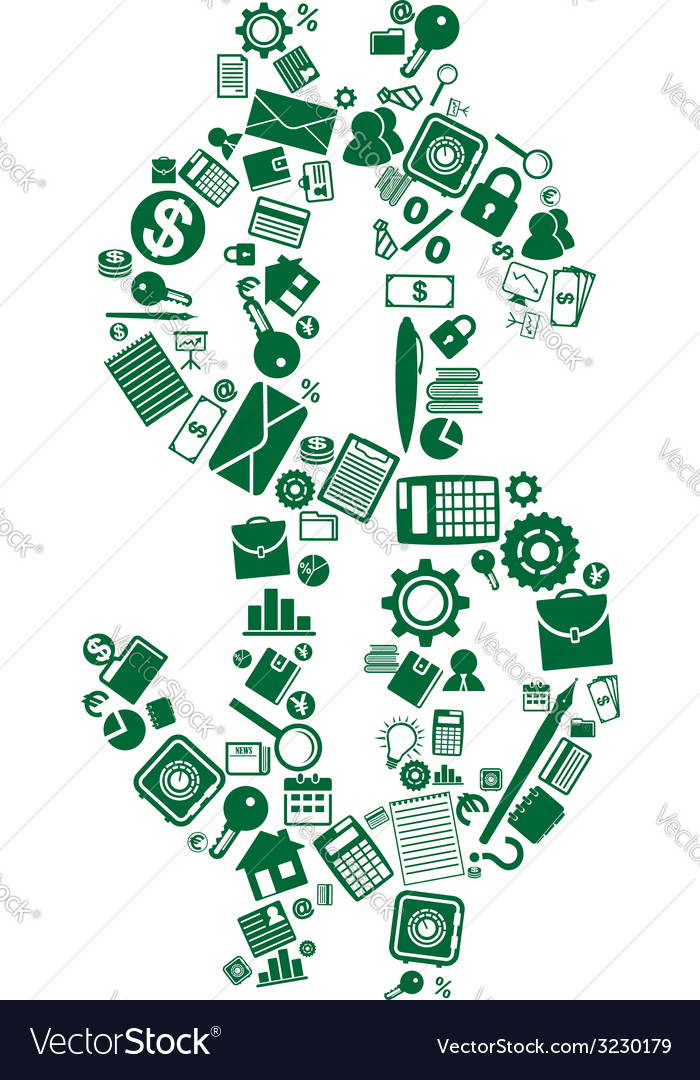 Dollar sign of business and financial icons vector | Price: 1 Credit (USD $1)