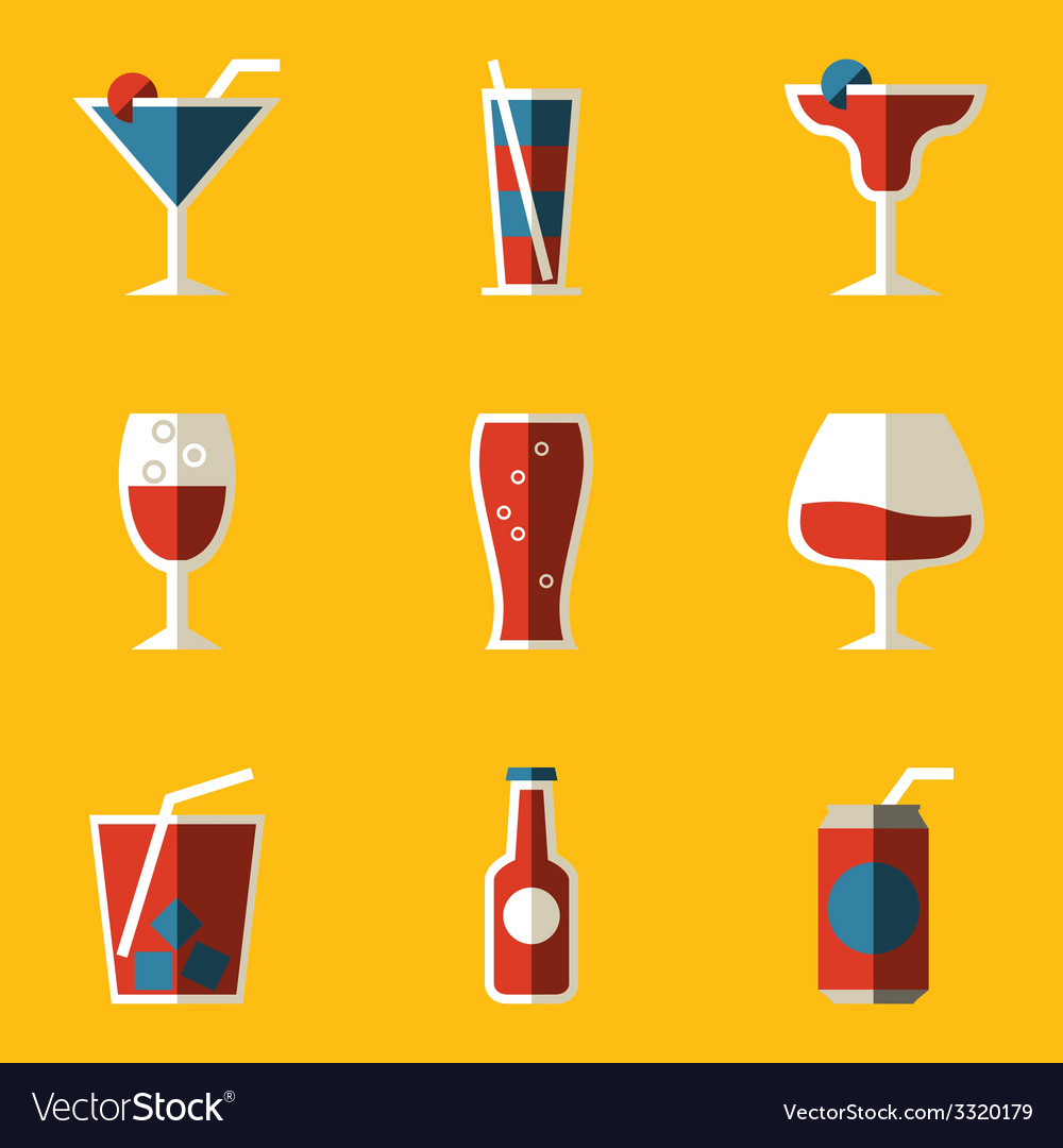 Flat icon set drink cocktail vector | Price: 1 Credit (USD $1)