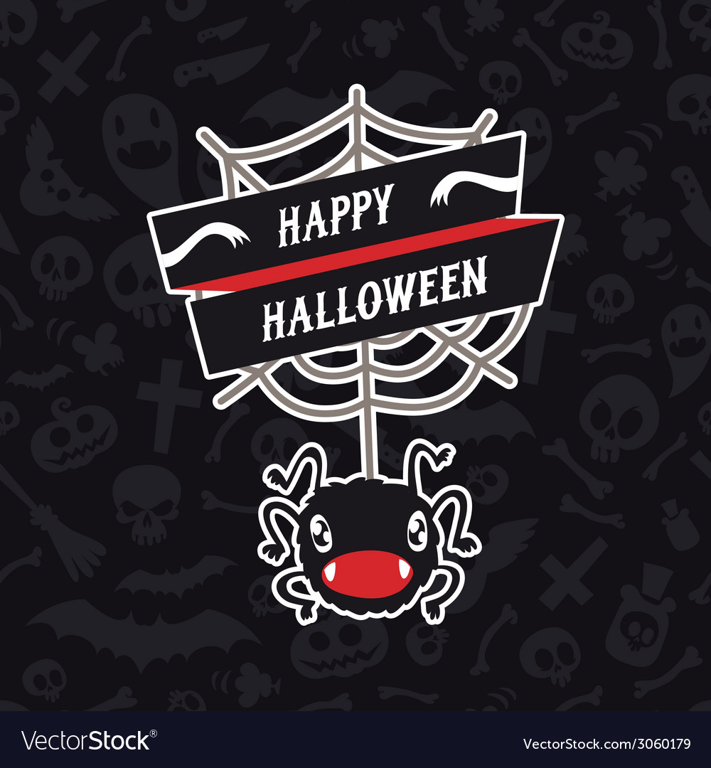 Happy halloween card with spider vector | Price: 1 Credit (USD $1)