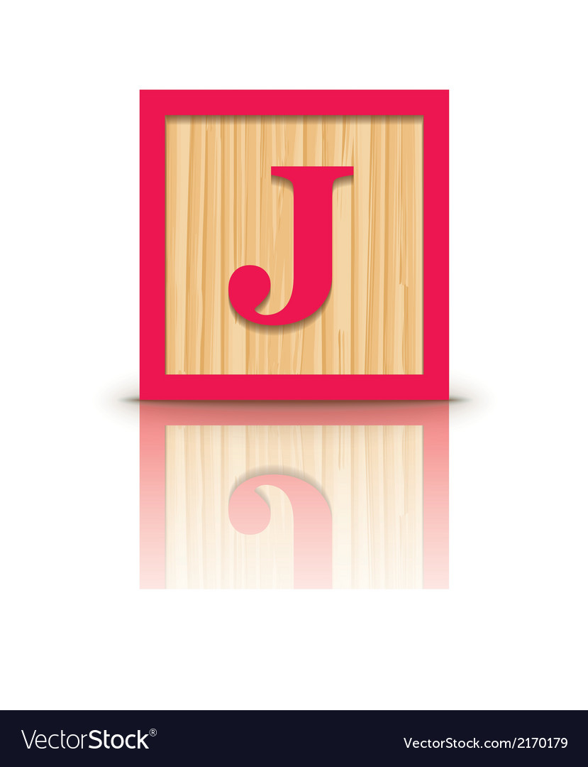 Letter j wooden alphabet block vector | Price: 1 Credit (USD $1)