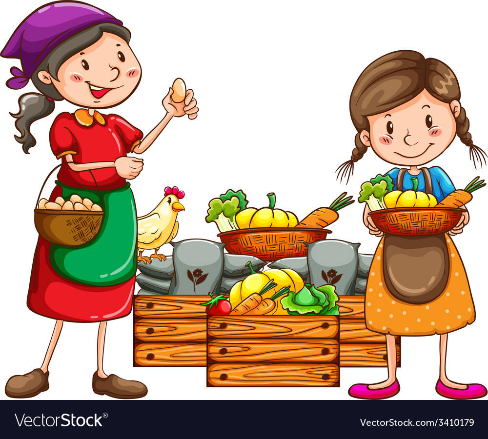 Market vendors selling the fresh harvests vector | Price: 3 Credit (USD $3)