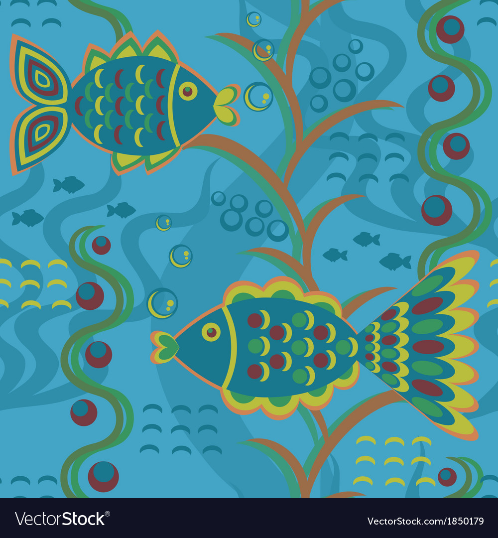 Seamless pattern with fishes vector | Price: 1 Credit (USD $1)