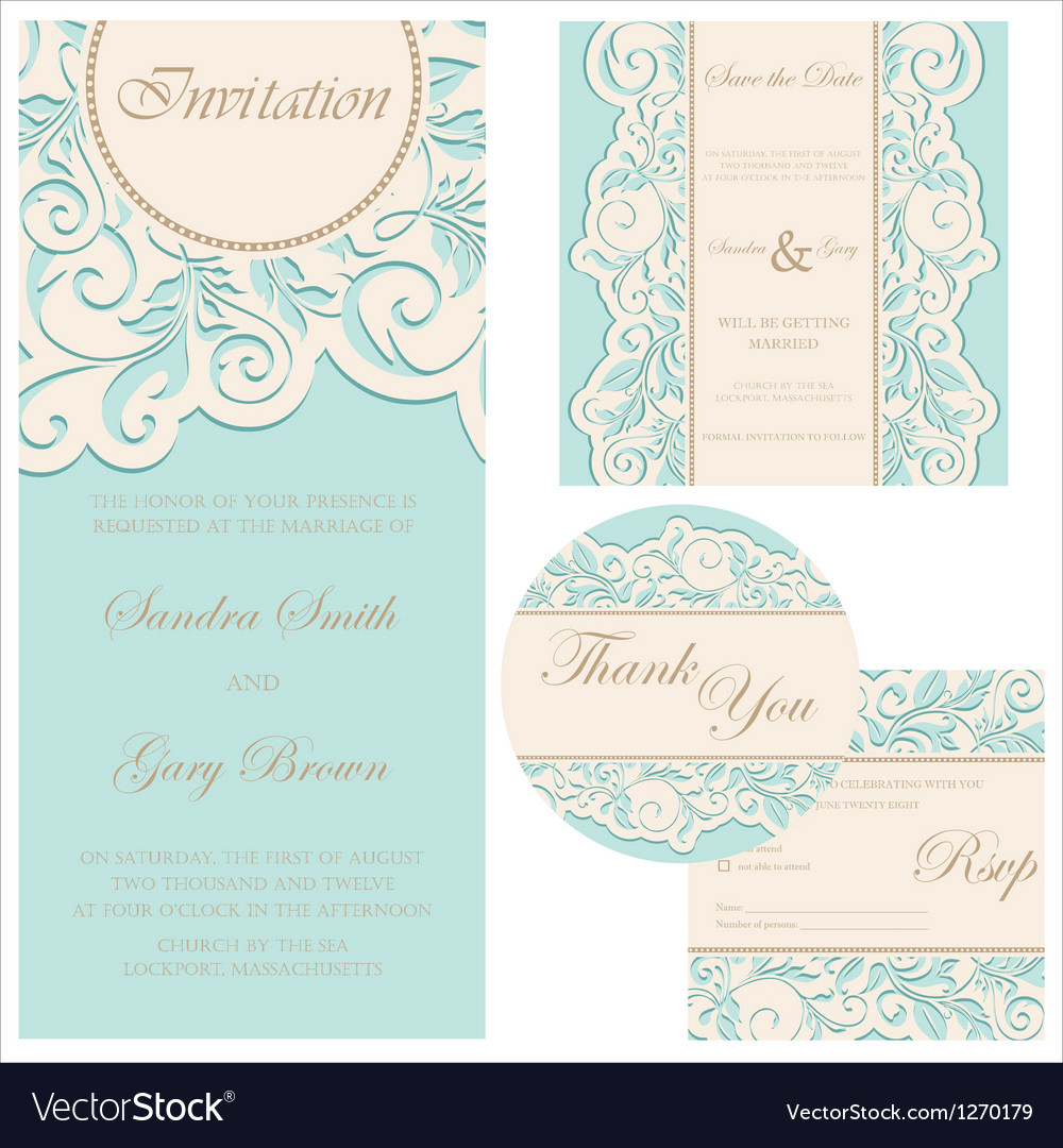 Wedding invitation set vector | Price: 1 Credit (USD $1)