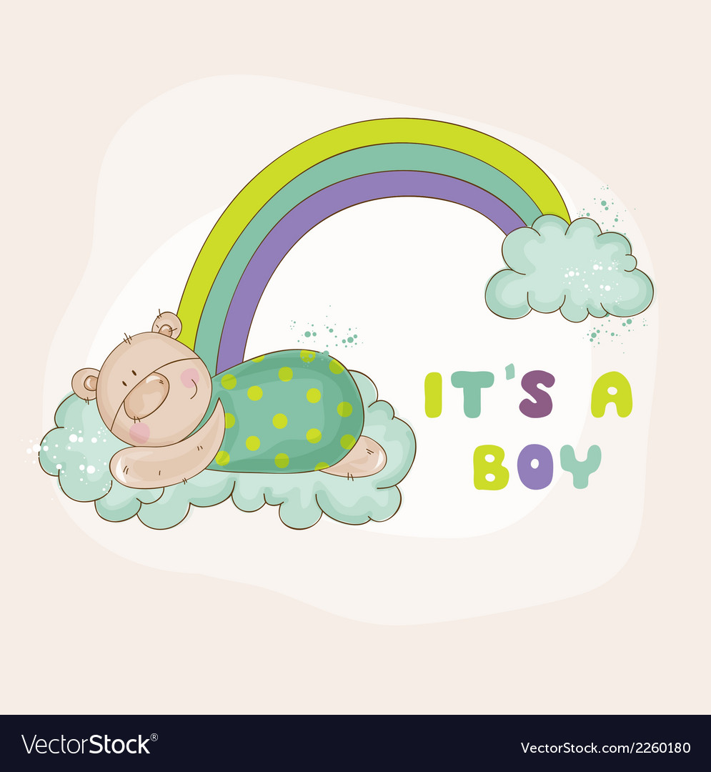 Baby bear on a rainbow - baby shower card vector   Price: 1 Credit (USD $1)