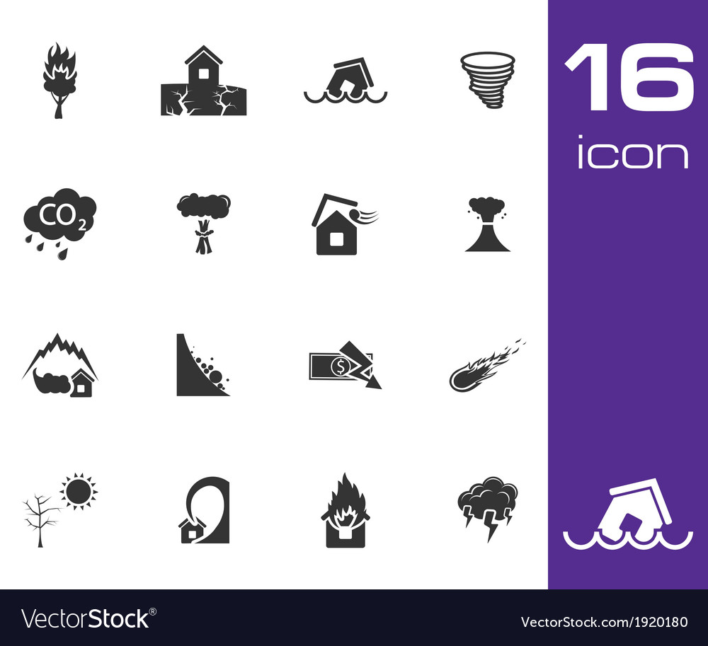 Black disaster icons set on white background vector | Price: 1 Credit (USD $1)