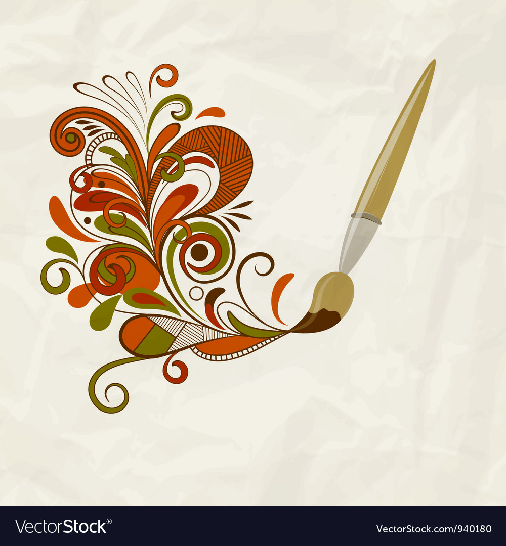 Concept cartoon brush painting floral design vector | Price: 1 Credit (USD $1)