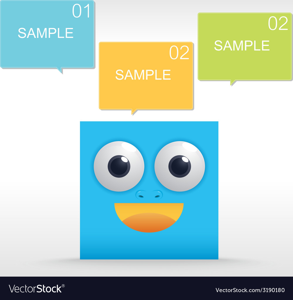 Funny character of blue box vector | Price: 1 Credit (USD $1)