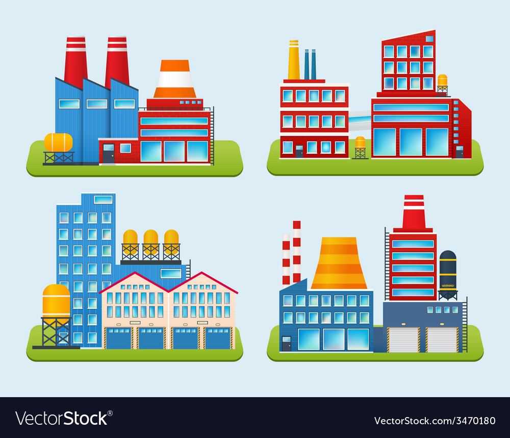 Industrial building set vector | Price: 1 Credit (USD $1)