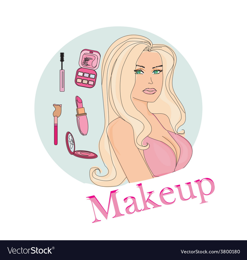 Make-up girl doodle vector | Price: 1 Credit (USD $1)