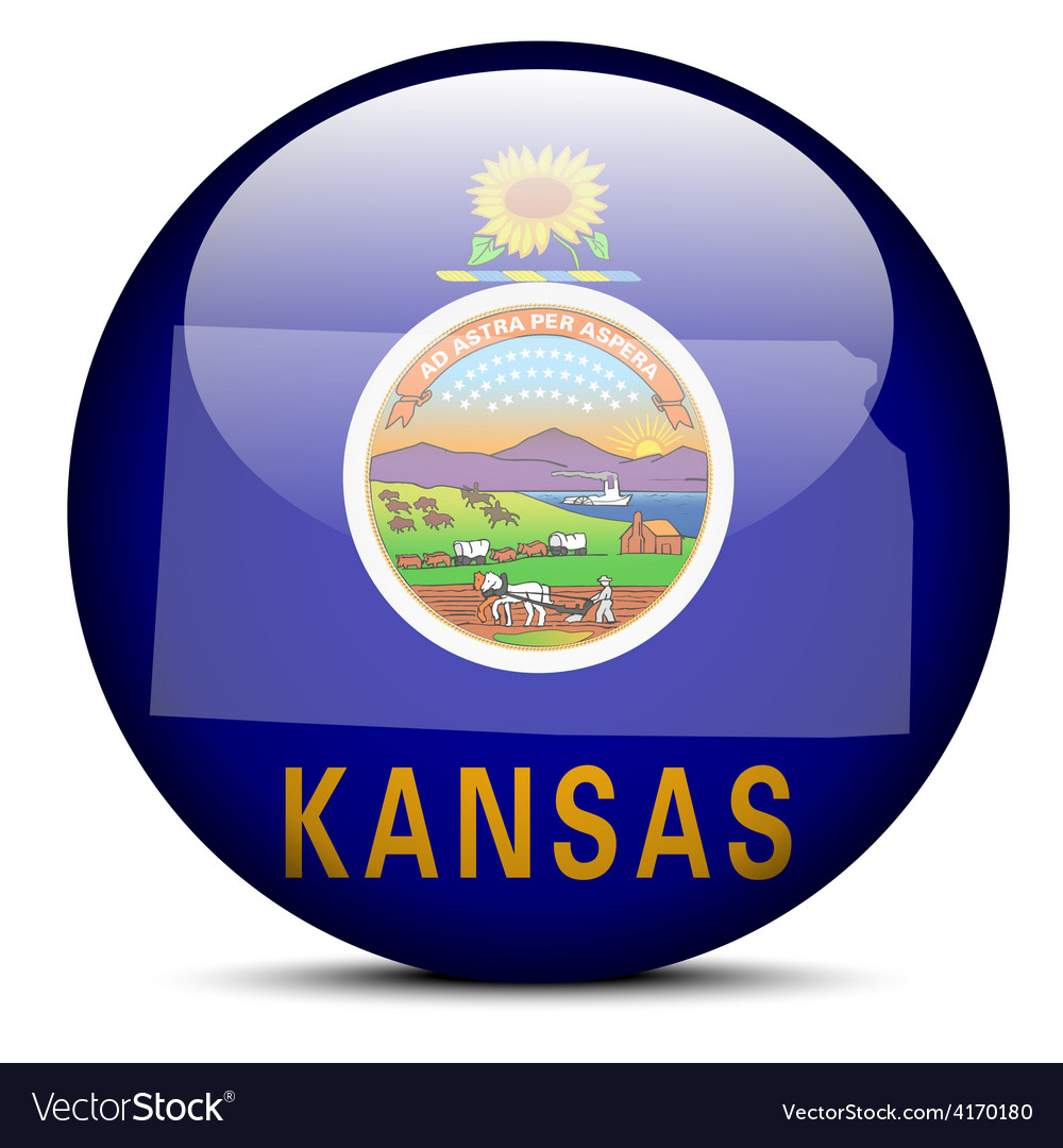 Map on flag button of usa kansas state vector | Price: 1 Credit (USD $1)