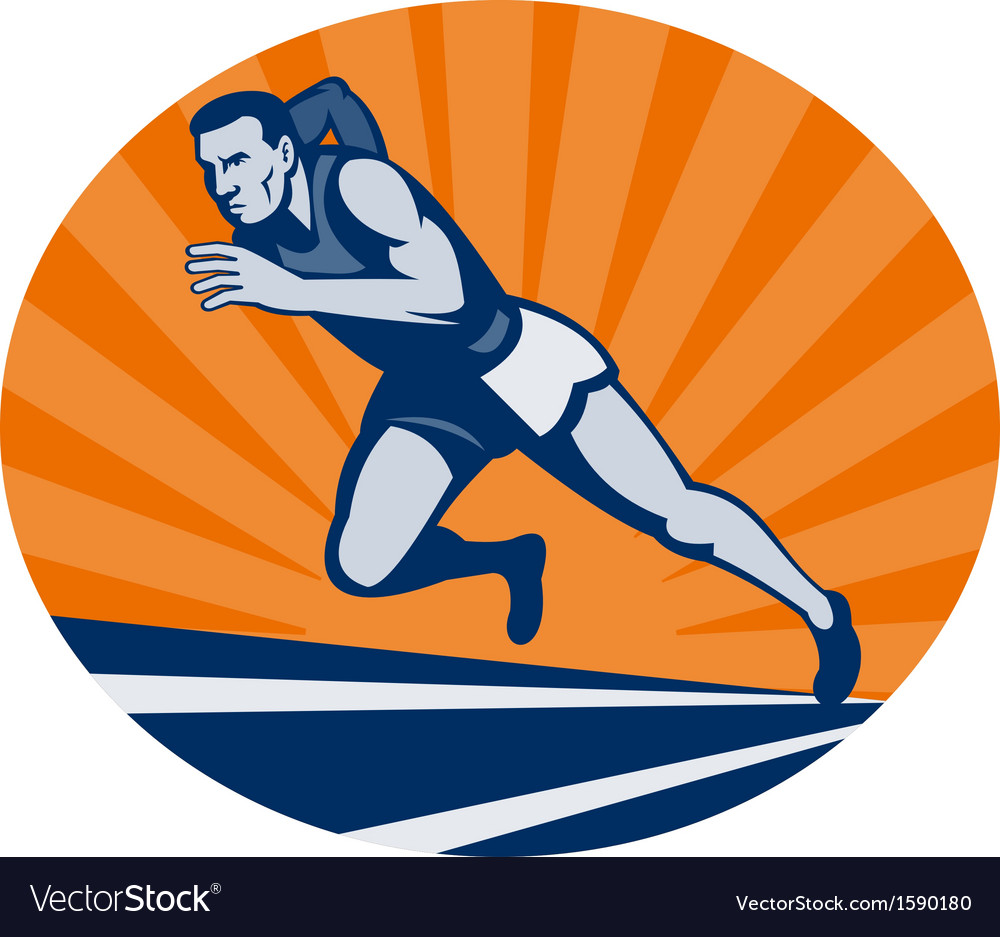 Marathon runner on track with sunburst vector | Price: 1 Credit (USD $1)