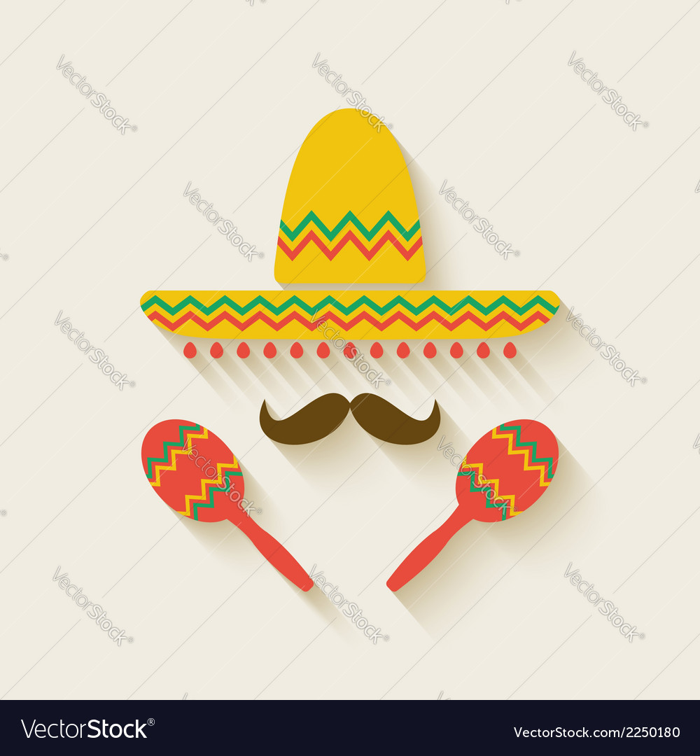 Mexican sombrero and maracas vector | Price: 1 Credit (USD $1)