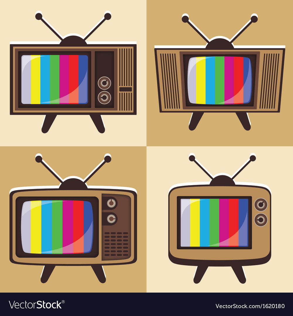 Set of classic television 2 vector | Price: 1 Credit (USD $1)