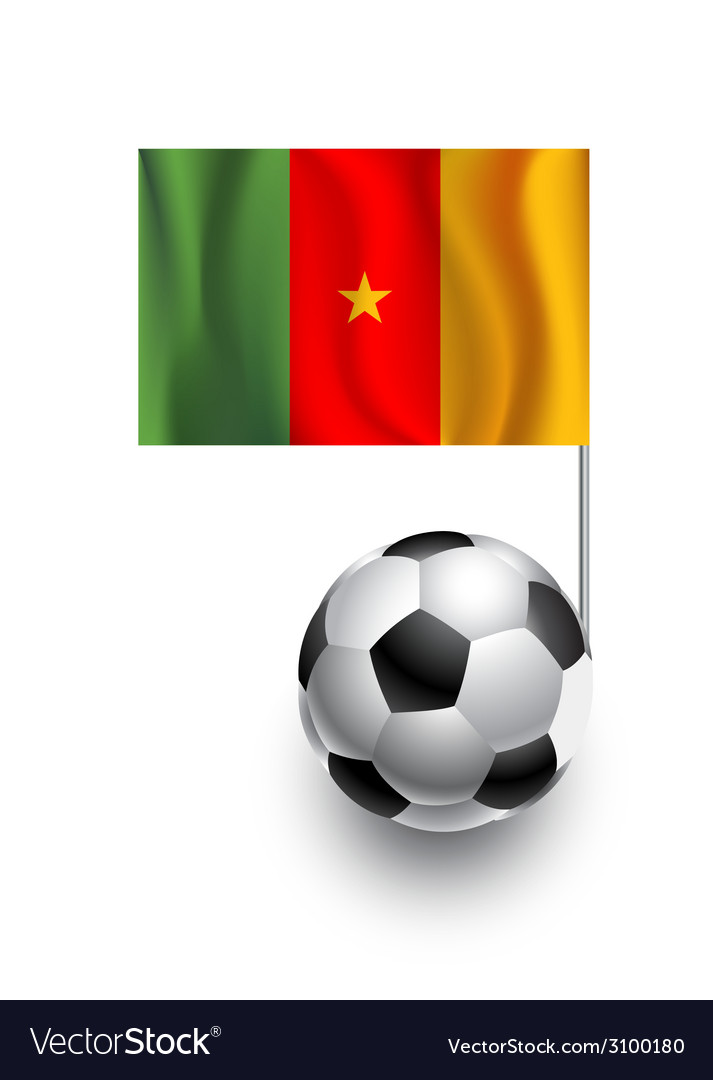 Soccer balls or footballs with flag of cameroon vector | Price: 1 Credit (USD $1)